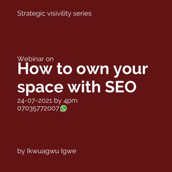 USING SEO TO OWN YOUR SPACE